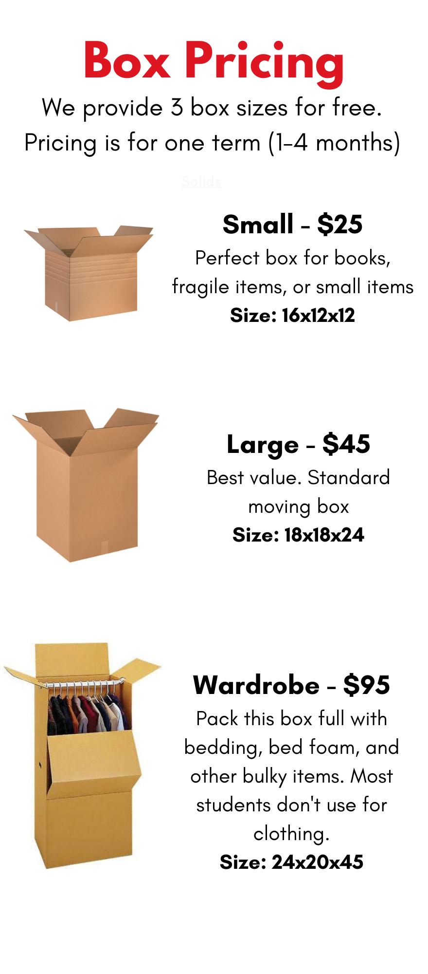 BOX STORAGE PRICING